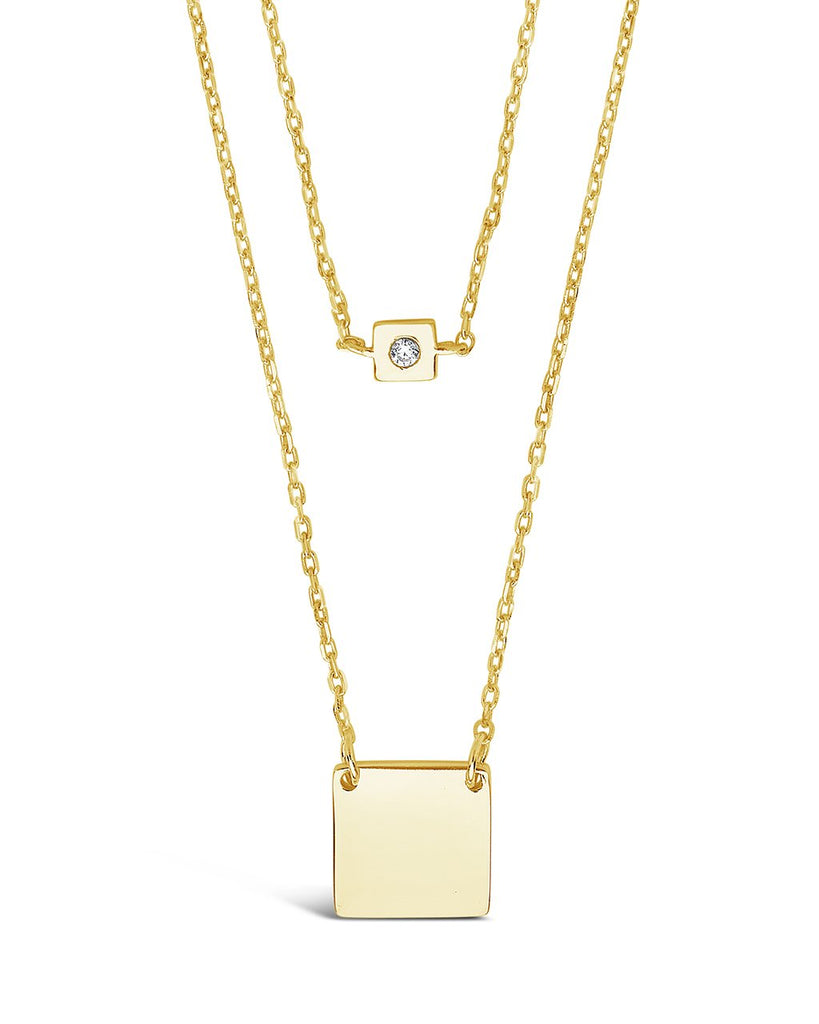 Sterling Silver Square Tag & CZ Layered Necklace Necklace Sterling Forever Gold