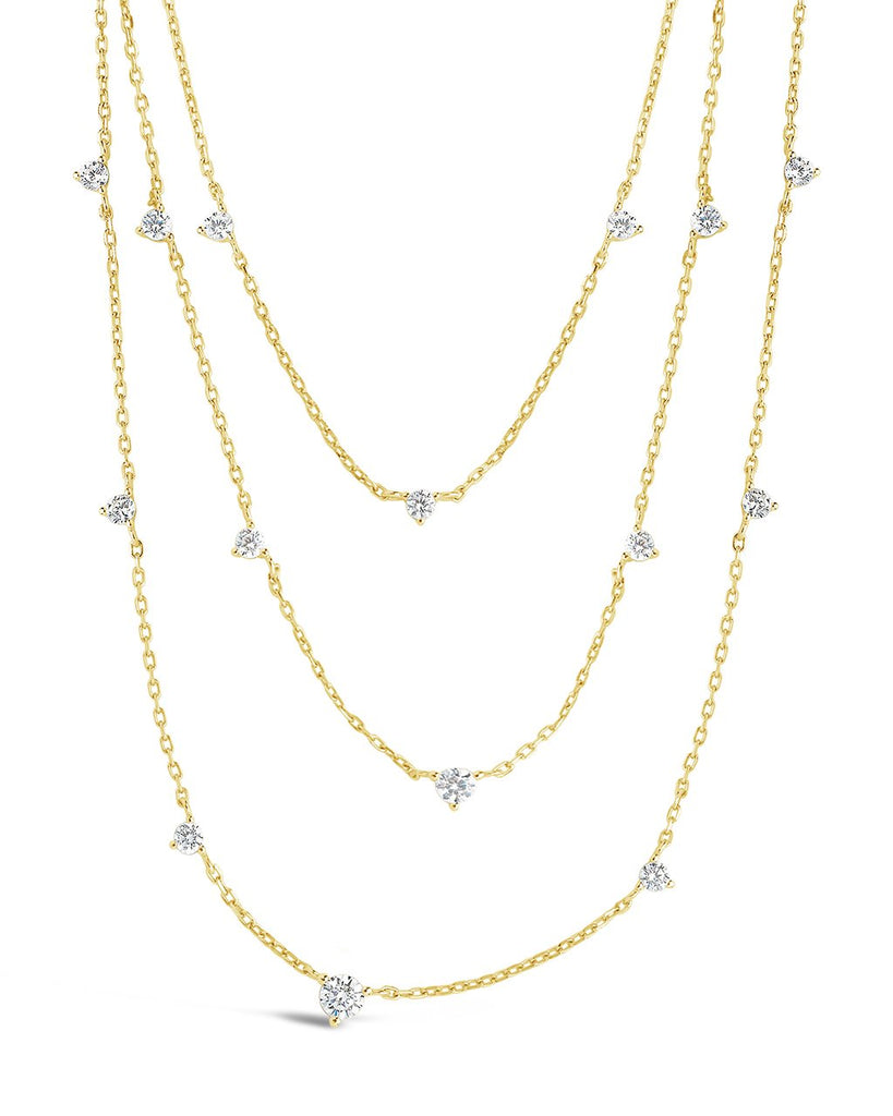Sterling Silver CZ Studded Multi Chain Necklace Necklace Sterling Forever Gold