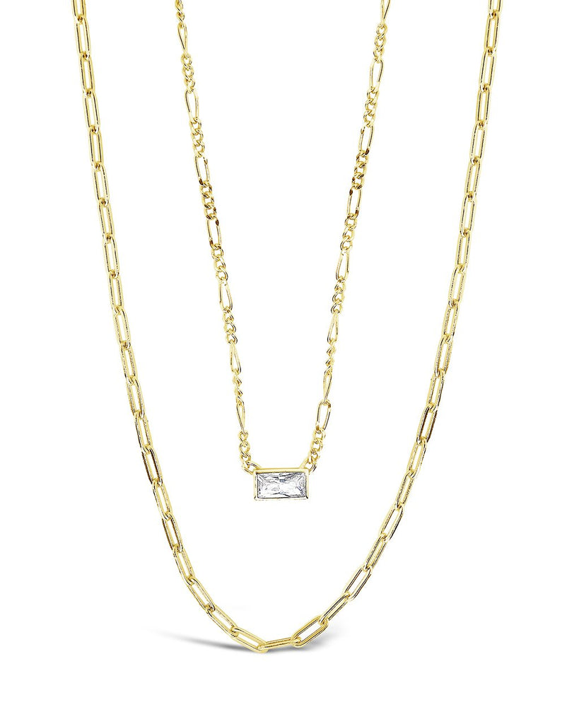 Delicate Sterling Silver 2 Layer Chain Necklace with Baguette CZ Charm Necklace Sterling Forever Gold