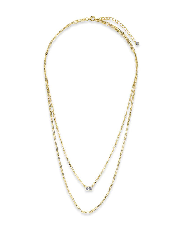 Delicate Sterling Silver 2 Layer Chain Necklace with Baguette CZ Charm Necklace Sterling Forever