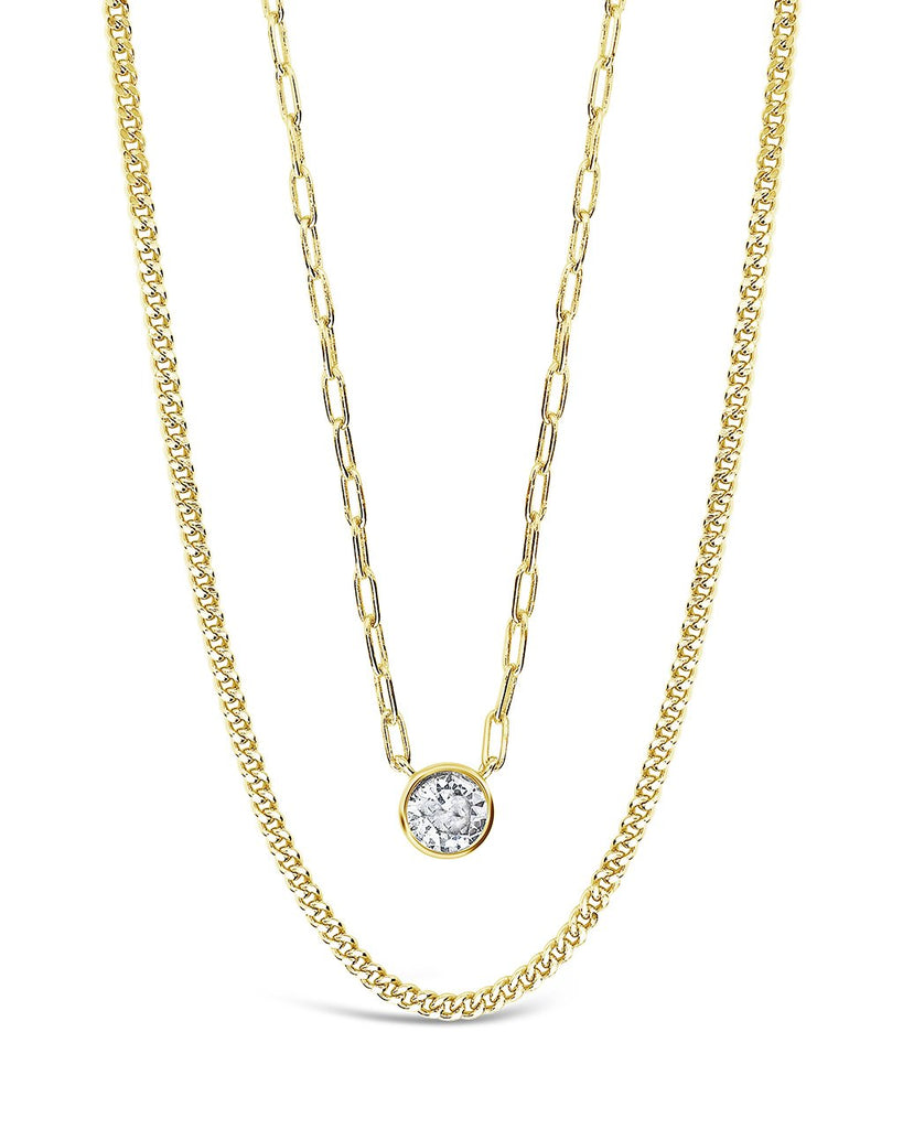 Delicate Sterling Silver 2 Layer Chain Necklace with Bezel CZ Charm Necklace Sterling Forever Gold