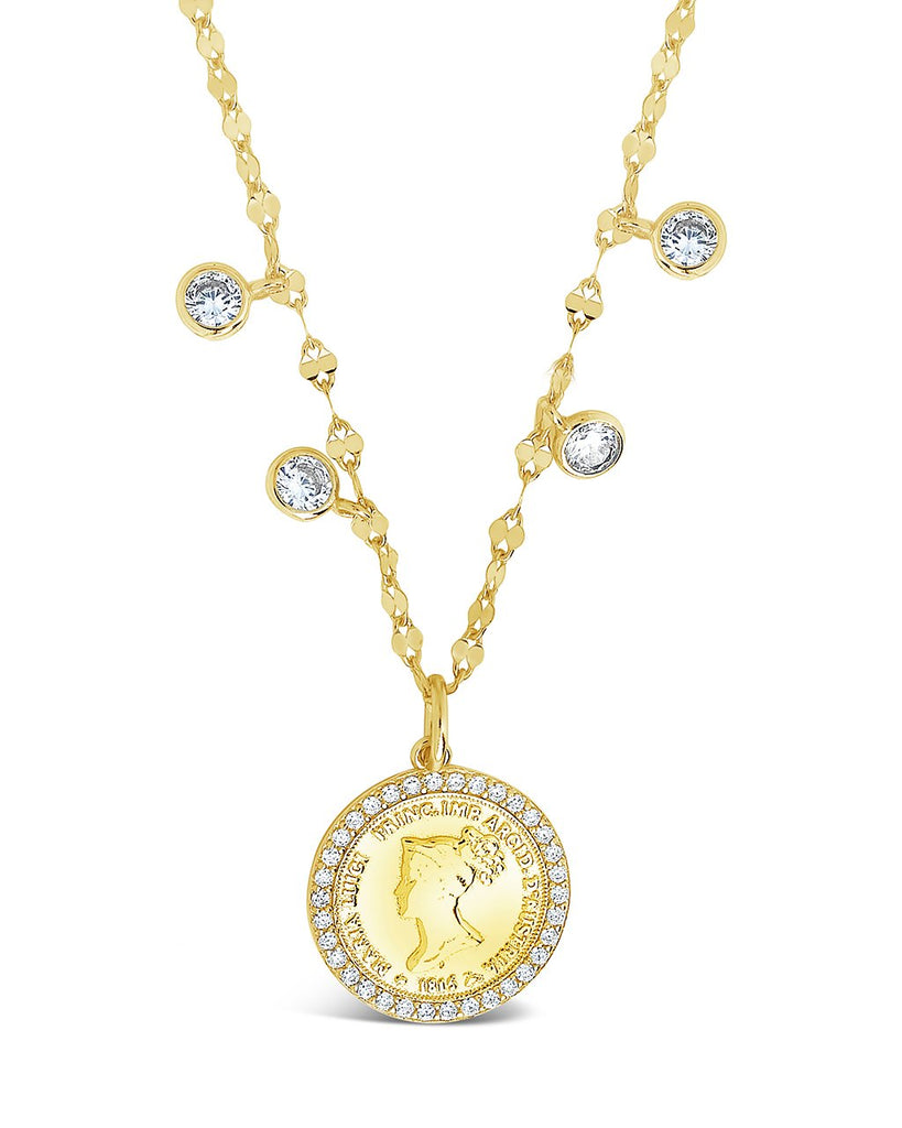 Sterling Silver Coin Medallion & Bezel CZ Charm Necklace Necklace Sterling Forever Gold