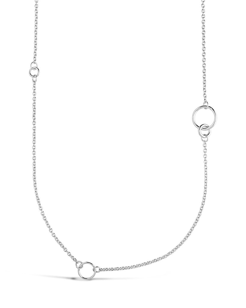 Long Polished Interlocking Circles Necklace Necklace Sterling Forever Silver