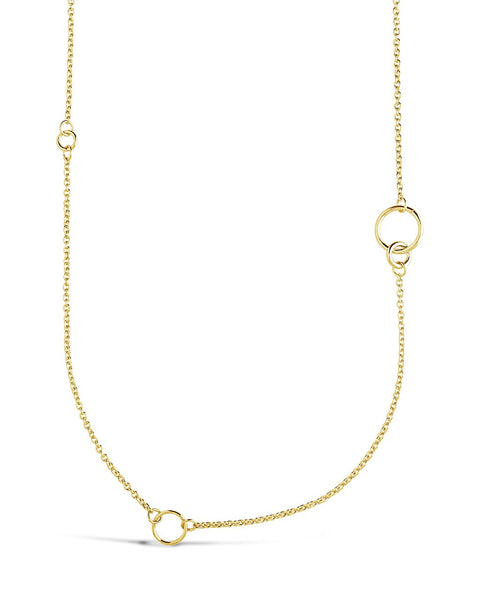 Long Polished Interlocking Circles Necklace