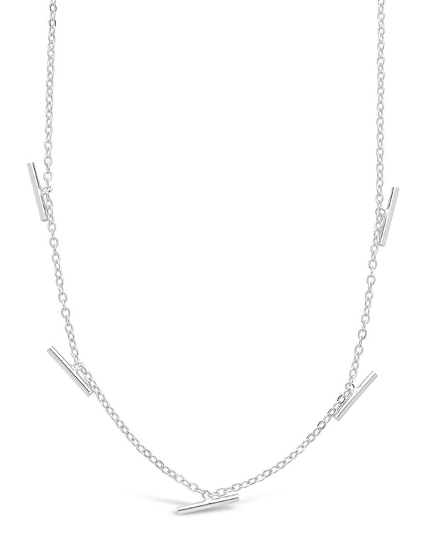 Sterling Silver Bar Charm Necklace - Sterling Forever