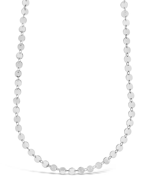 Round Disk Long Chain Necklace Necklace Sterling Forever Silver