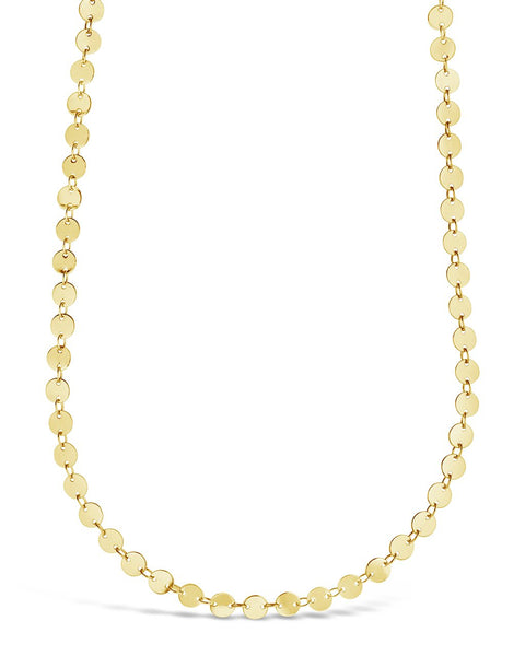 Round Disk Long Chain Necklace Necklace Sterling Forever Gold