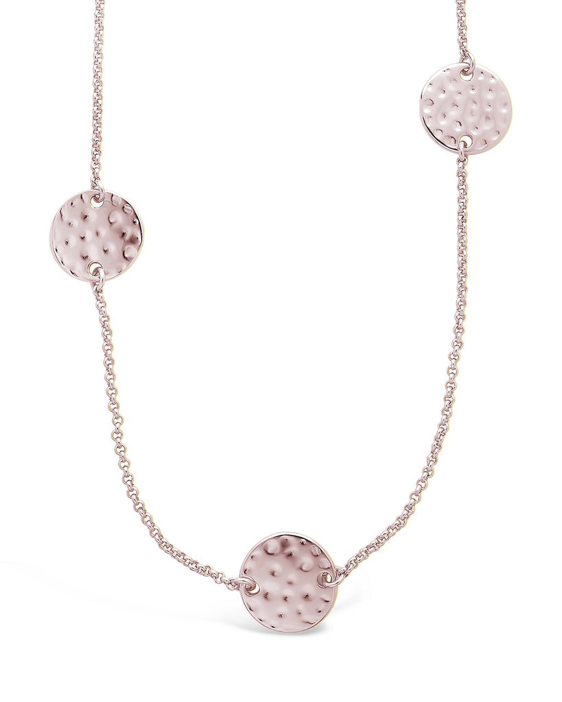 Round Disk Stationed Layer Necklace - Sterling Forever
