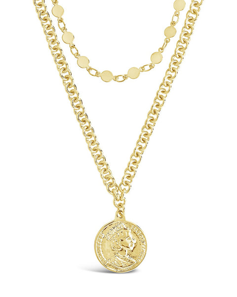 Disk Layered Necklace with Coin Pendant
