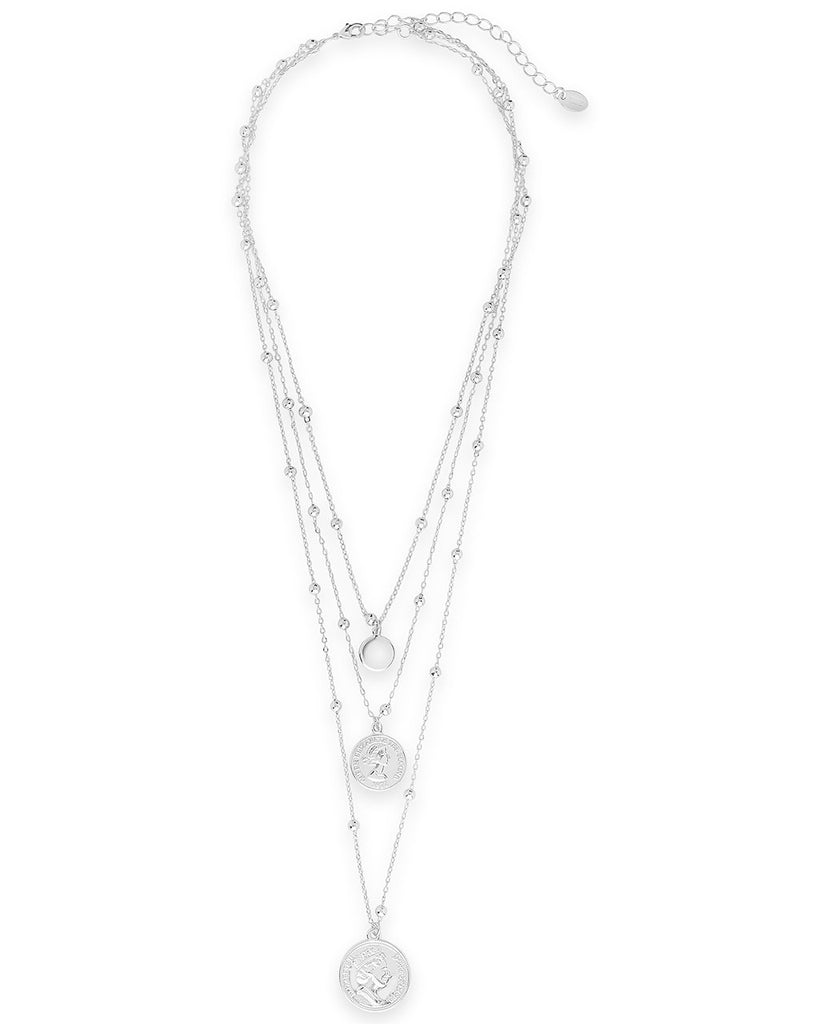 Triple Layer Charm Necklace with Beaded Chain - Sterling Forever
