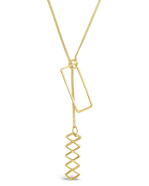 Geo Lariat Necklace Necklace Sterling Forever Gold