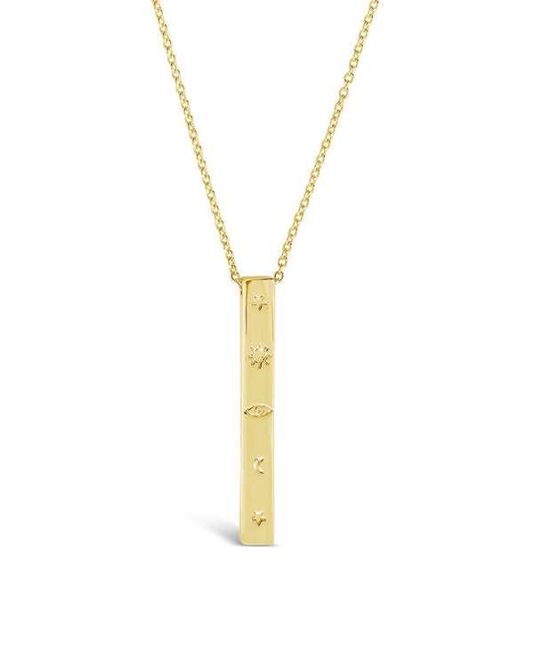 Engraved Bar Drop Necklace - Sterling Forever