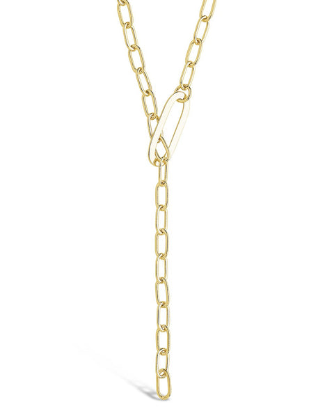 Chain Link Lariat Necklace Necklace Sterling Forever Gold