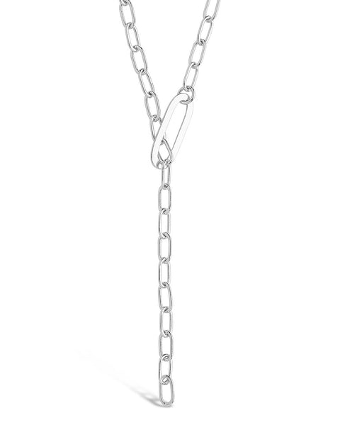 Chain Link Lariat Necklace Necklace Sterling Forever Silver