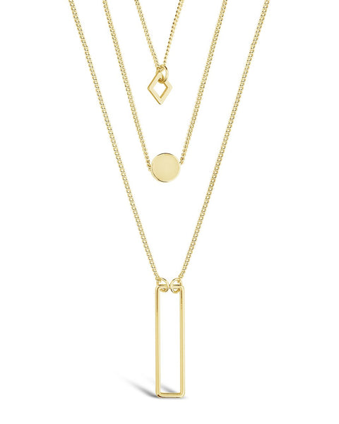 Geometric Multi Layer Necklace Necklace Sterling Forever Gold