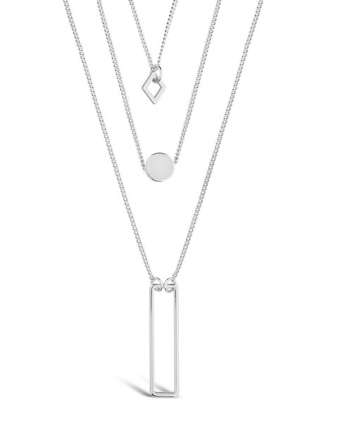 Geometric Multi Layer Necklace Necklace Sterling Forever Silver