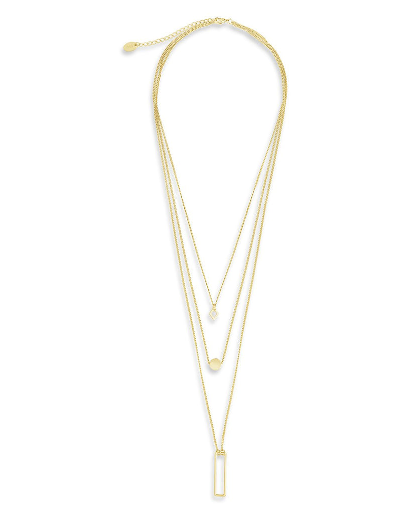 Geometric Multi Layer Necklace - Sterling Forever