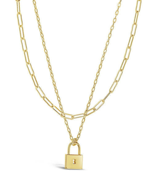 Lock & Chain Link Layered Necklace Necklace Sterling Forever Gold