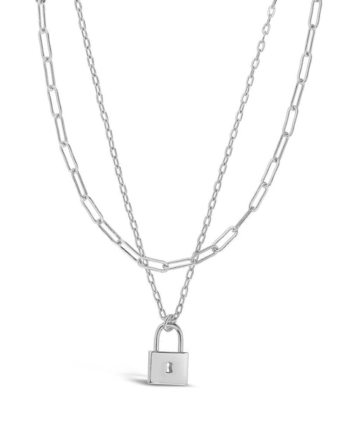Lock & Chain Link Layered Necklace Necklace Sterling Forever Silver