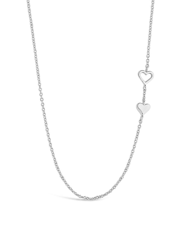 Double Stationed Heart Pendant Necklace - Sterling Forever