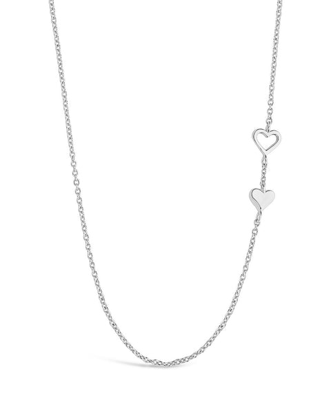 Double Stationed Heart Pendant Necklace Necklace Sterling Forever Silver