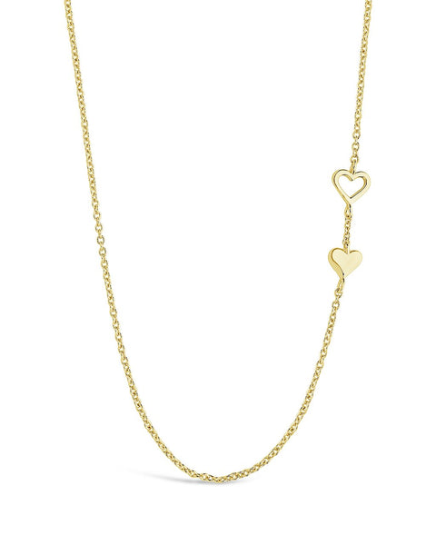 Double Stationed Heart Pendant Necklace Necklace Sterling Forever Gold