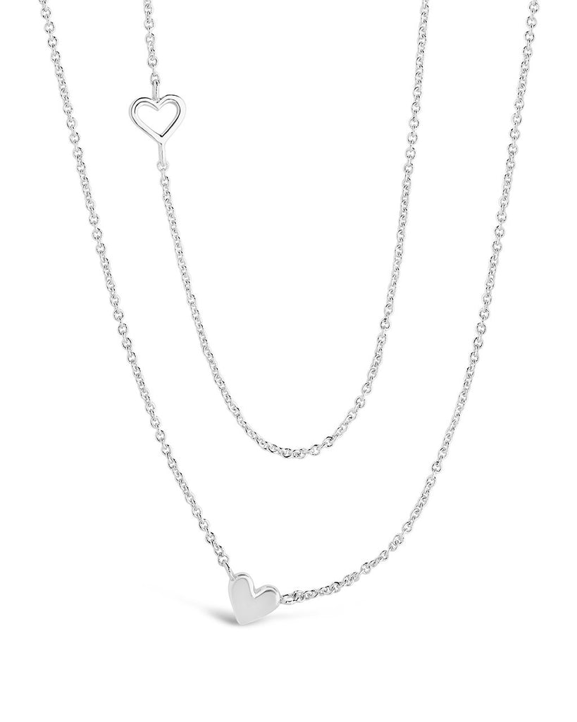 Layered Stationed Heart Pendant Necklace Necklace Sterling Forever Silver