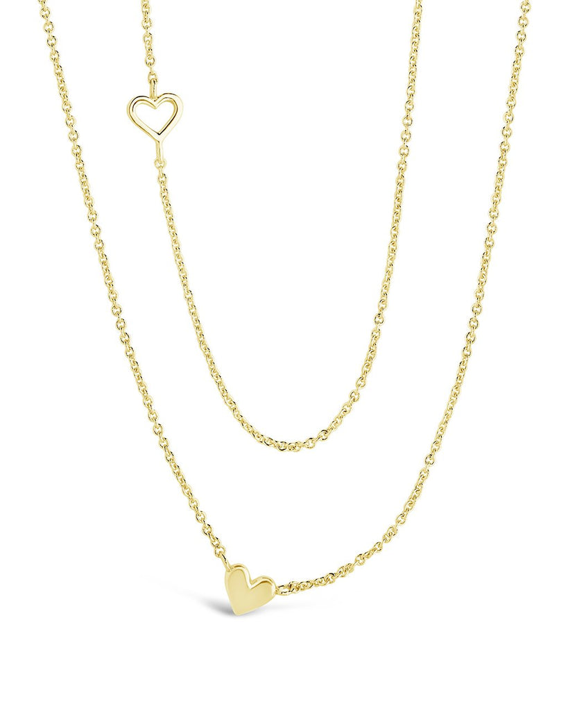 Layered Stationed Heart Pendant Necklace - Sterling Forever
