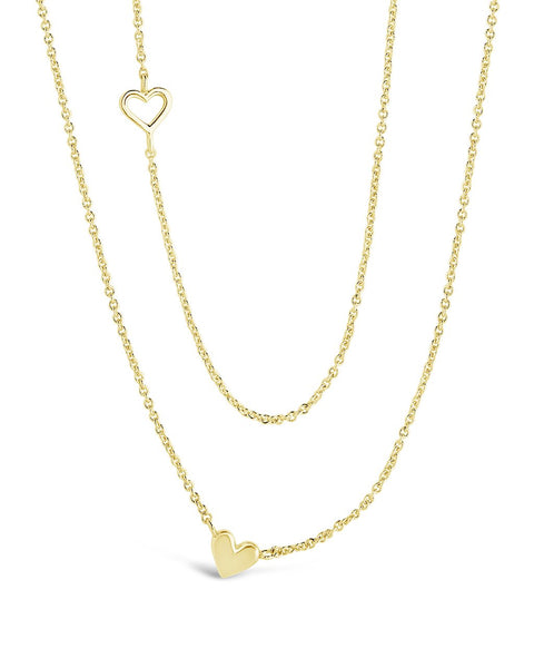 Layered Stationed Heart Pendant Necklace Necklace Sterling Forever Gold