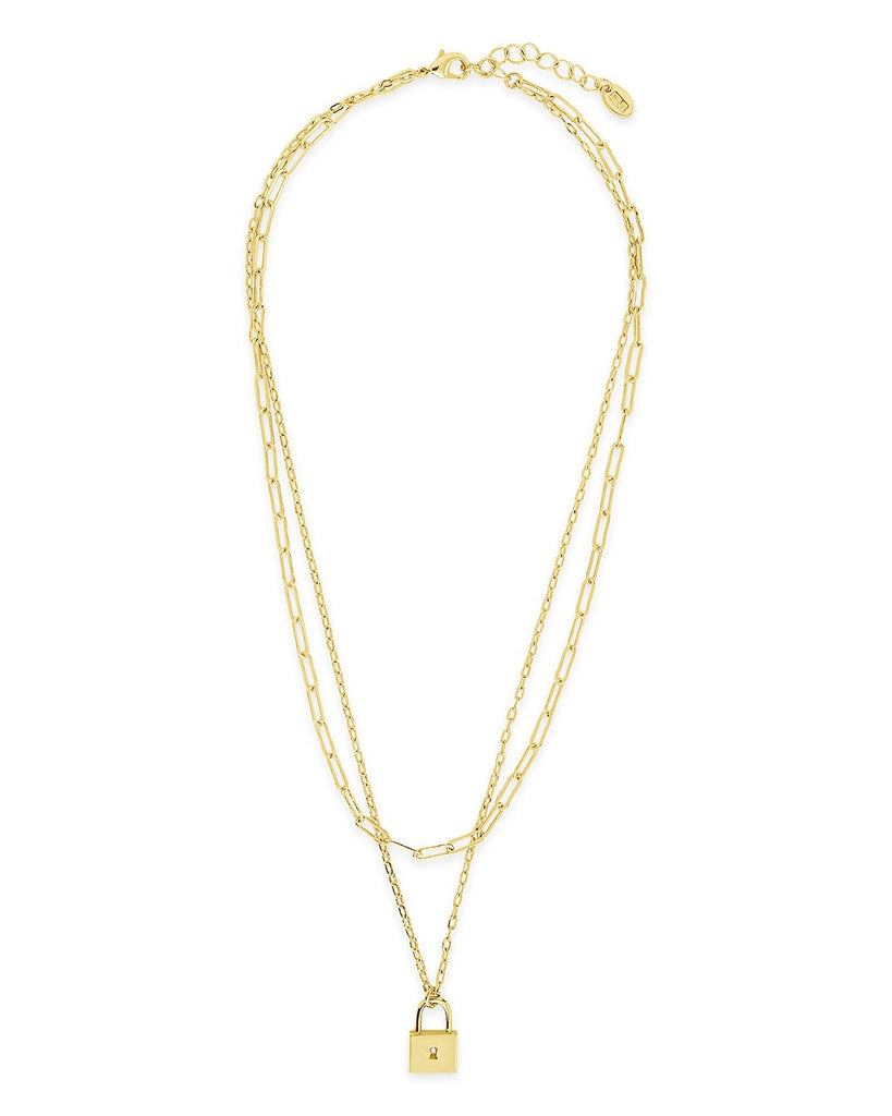 Lock & Chain Link Layered Necklace - Sterling Forever