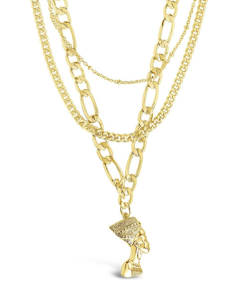 Layered Chains with Pharaoh Pendant Necklace Sterling Forever Gold