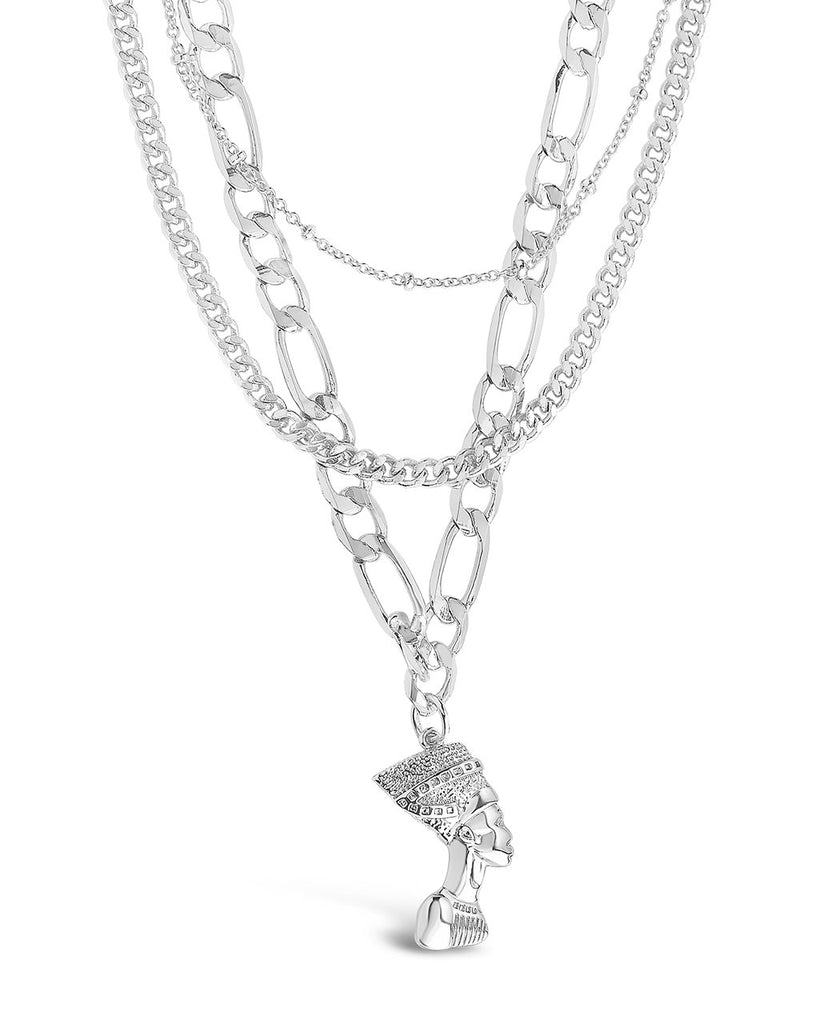 Layered Chains with Pharaoh Pendant Necklace Sterling Forever Silver
