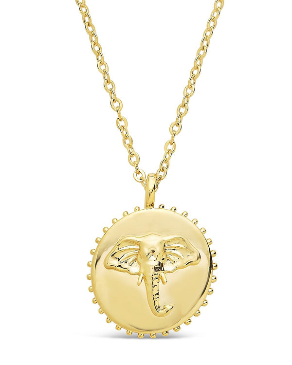 Untamed Medallion Pendant Necklace Sterling Forever Gold Elephant