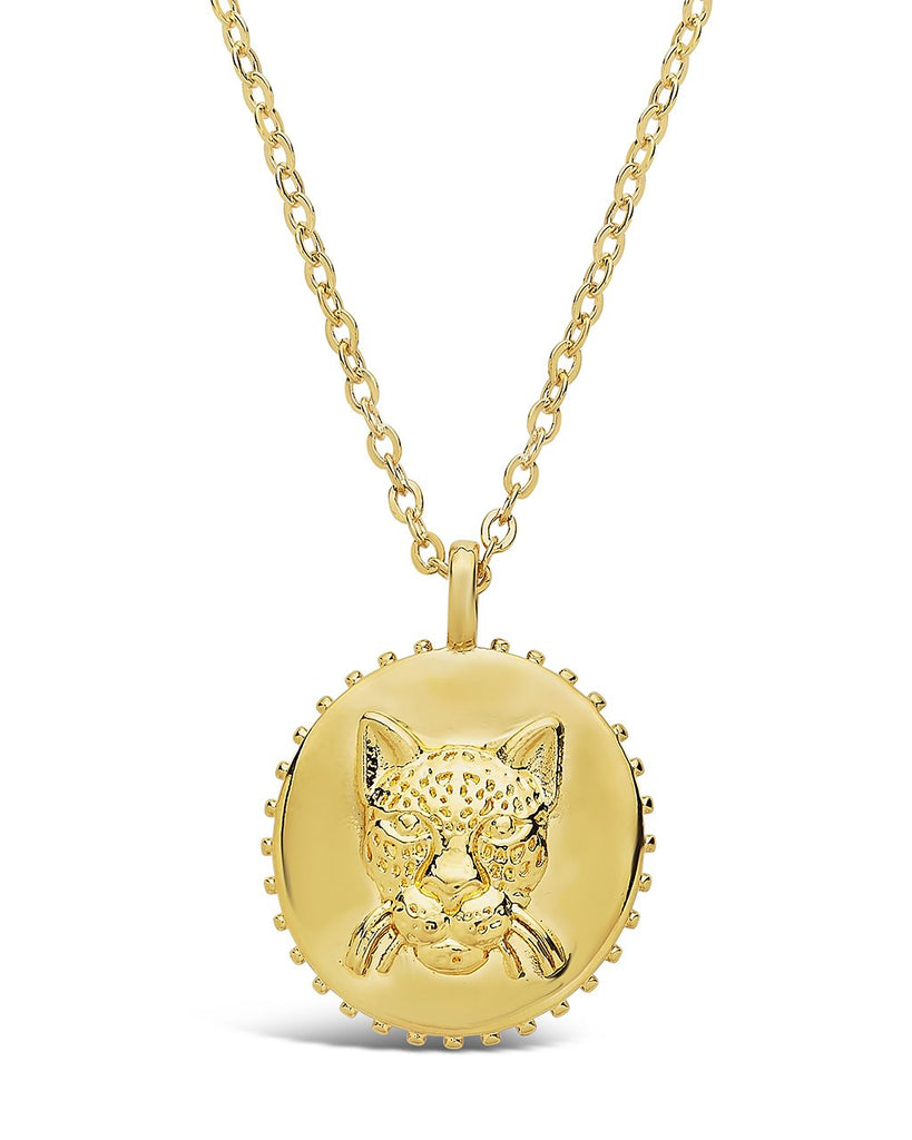 Untamed Medallion Pendant Necklace Sterling Forever Gold Jaguar
