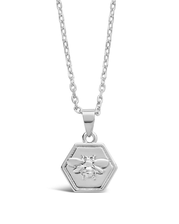 Hexagon Bee Pendant Necklace - Sterling Forever