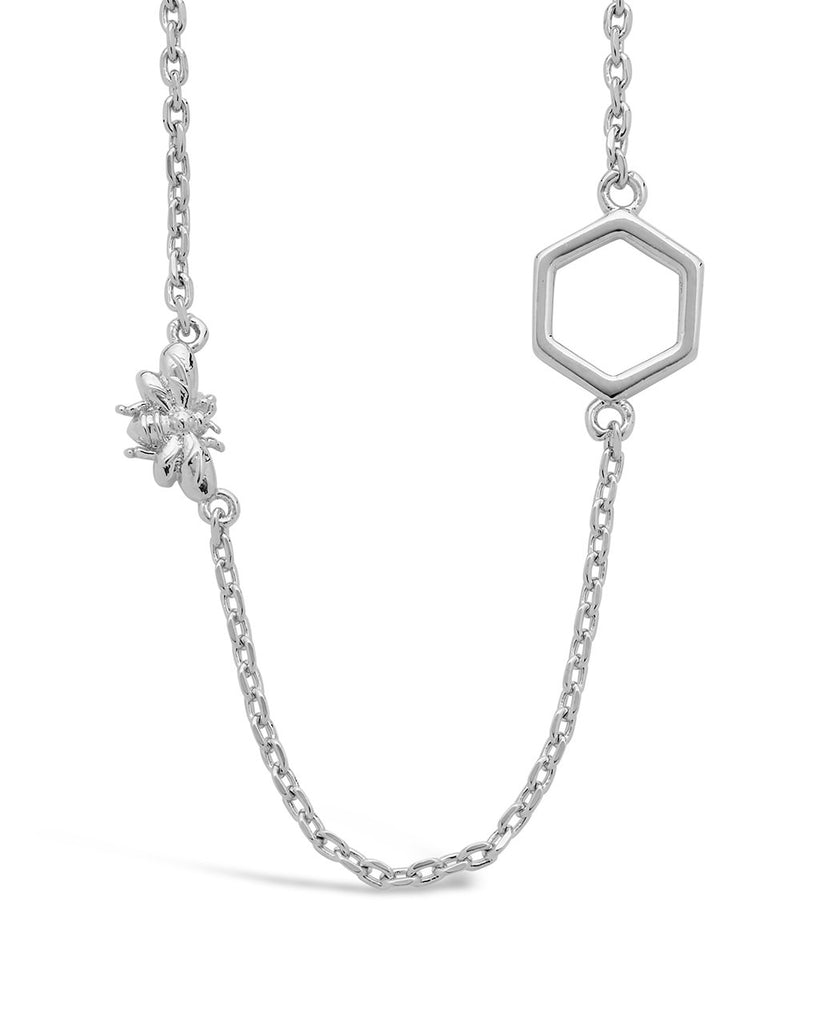 Bee & Hexagon Necklace - Sterling Forever