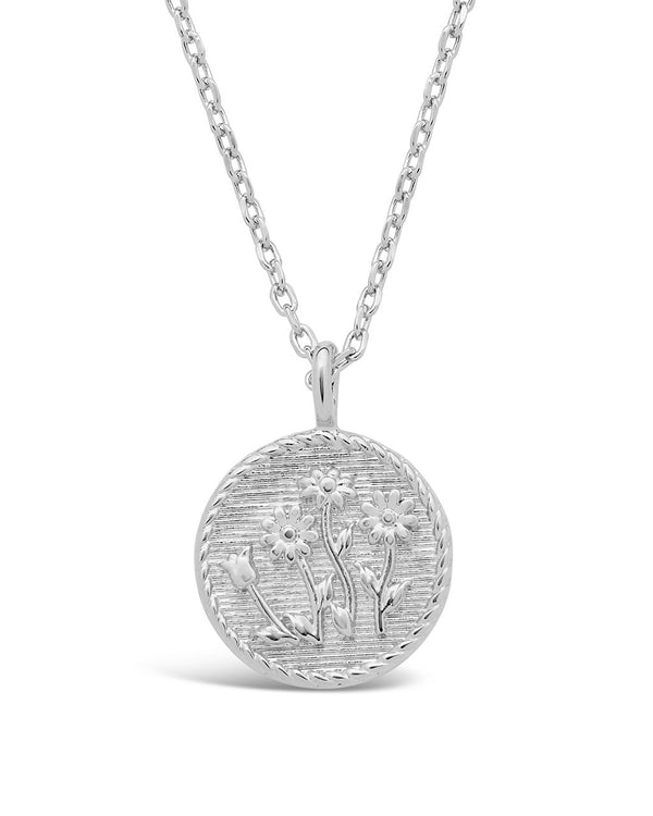 Engraved Wild Flower Pendant Necklace - Sterling Forever