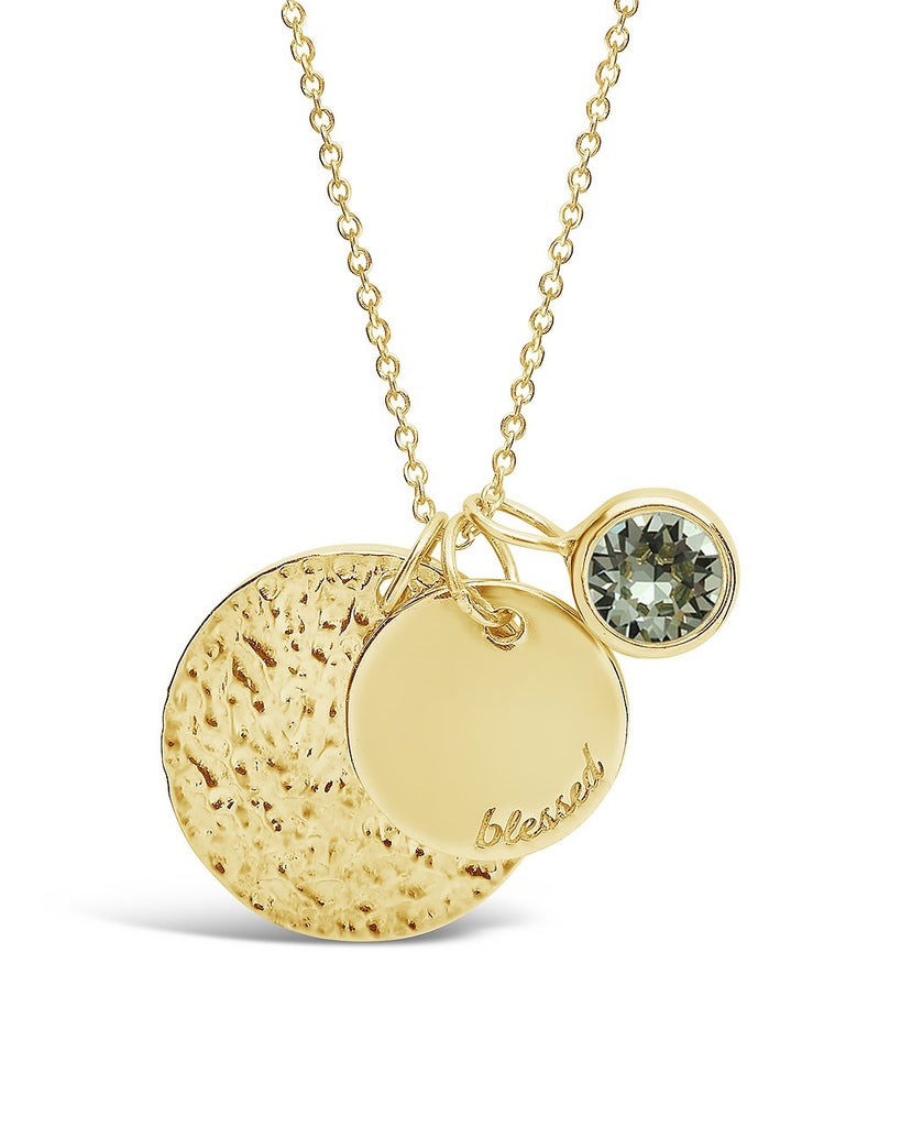 Blessed Disk & Birthstone Charm Necklace - Sterling Forever
