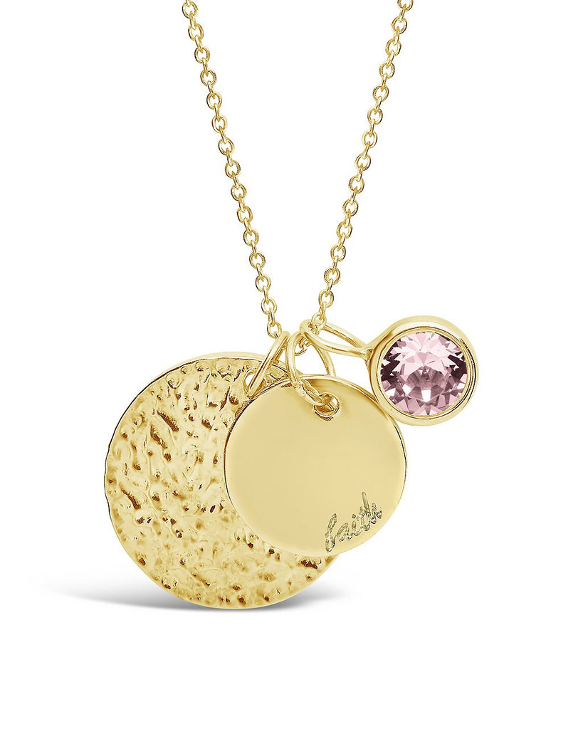 Faith Disk & Birthstone Charm Necklace - Sterling Forever