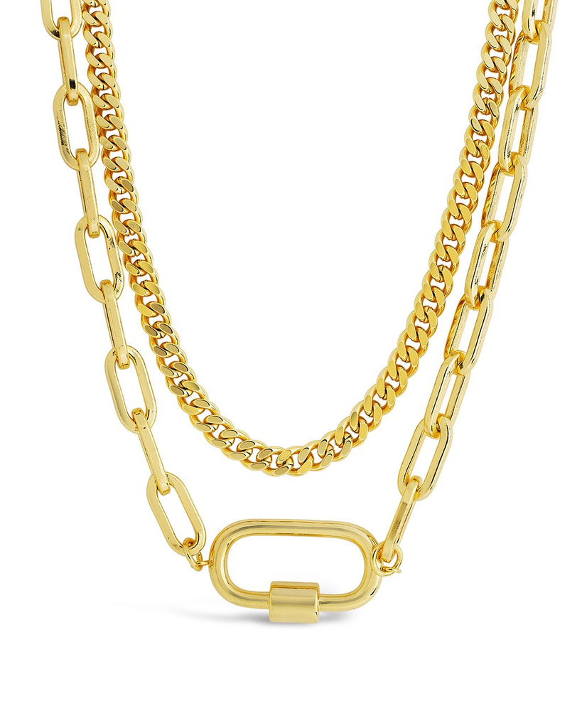 Polished Carabiner Layered Chain Necklace Necklace Sterling Forever Gold