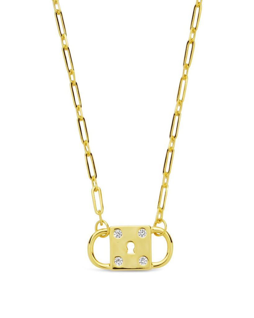 Double Padlock Pendant Necklace Sterling Forever Gold