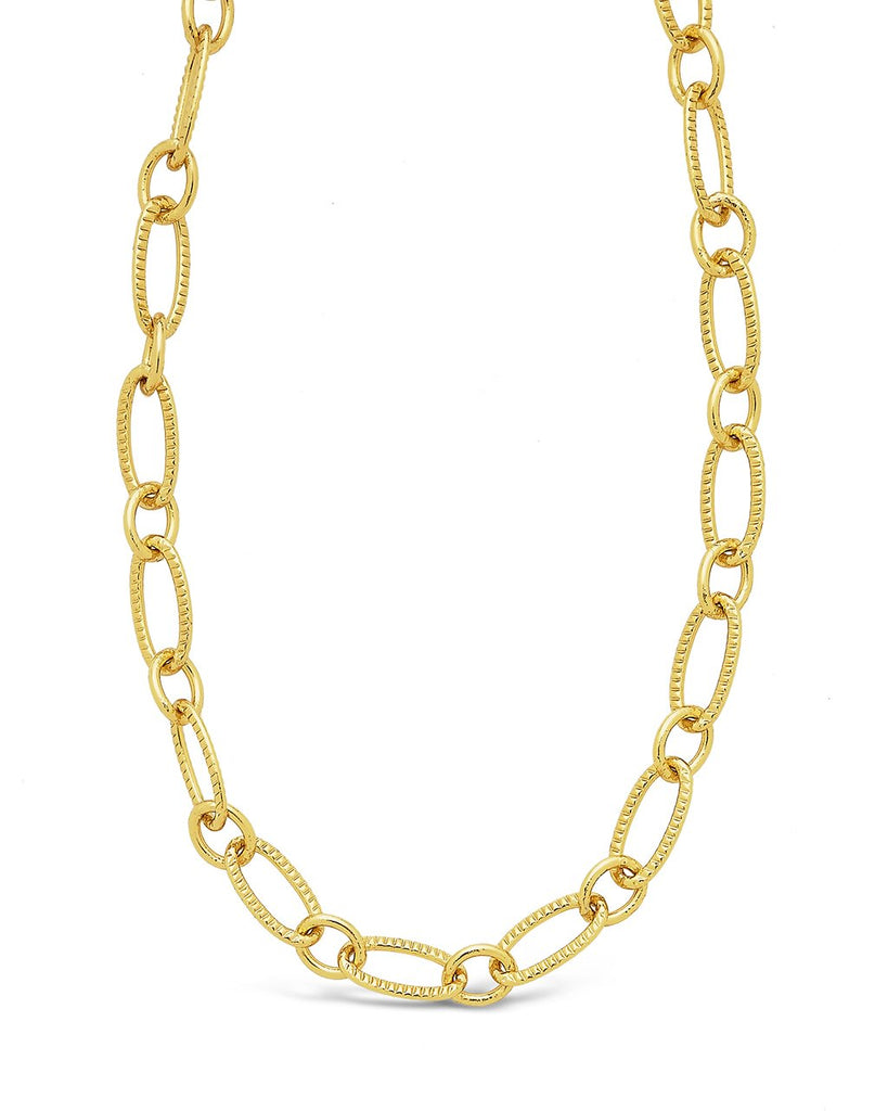 Textured Oval Link Chain Necklace Sterling Forever