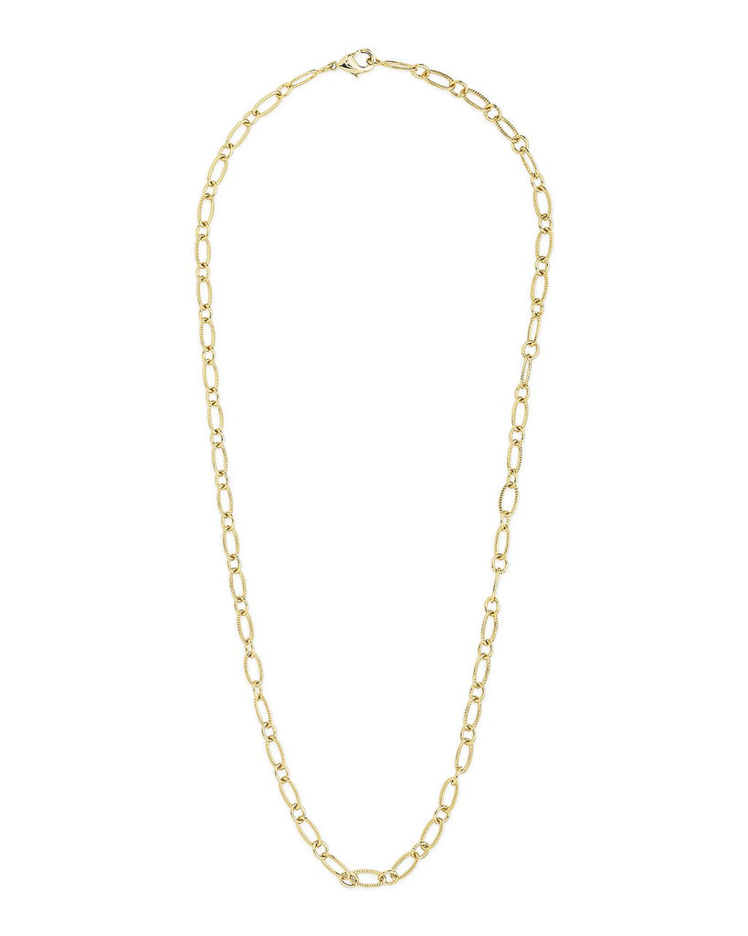 Textured Oval Link Chain Necklace Sterling Forever Gold