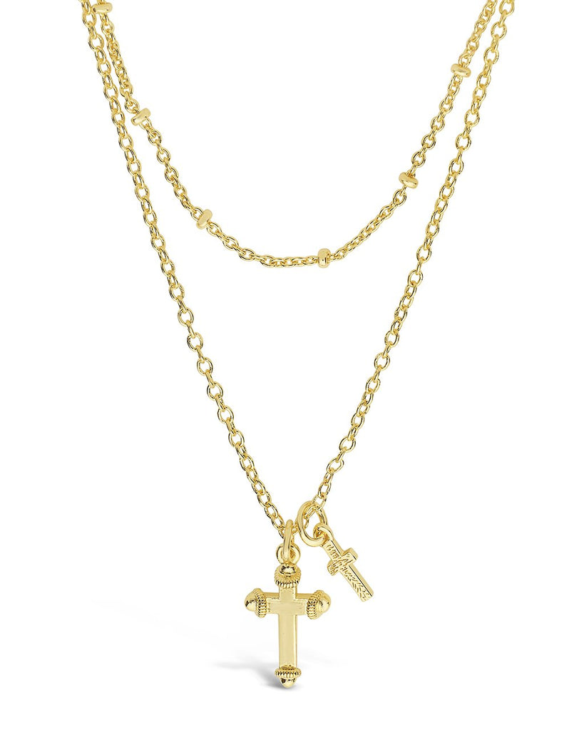 Double Cross Pendant Layered Necklace Necklace Sterling Forever Gold