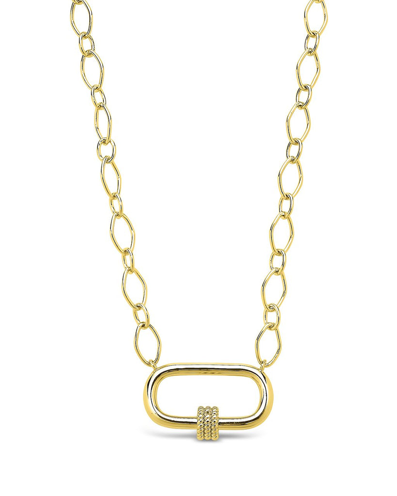 Polished Carabiner Pendant Necklace Necklace Sterling Forever Gold