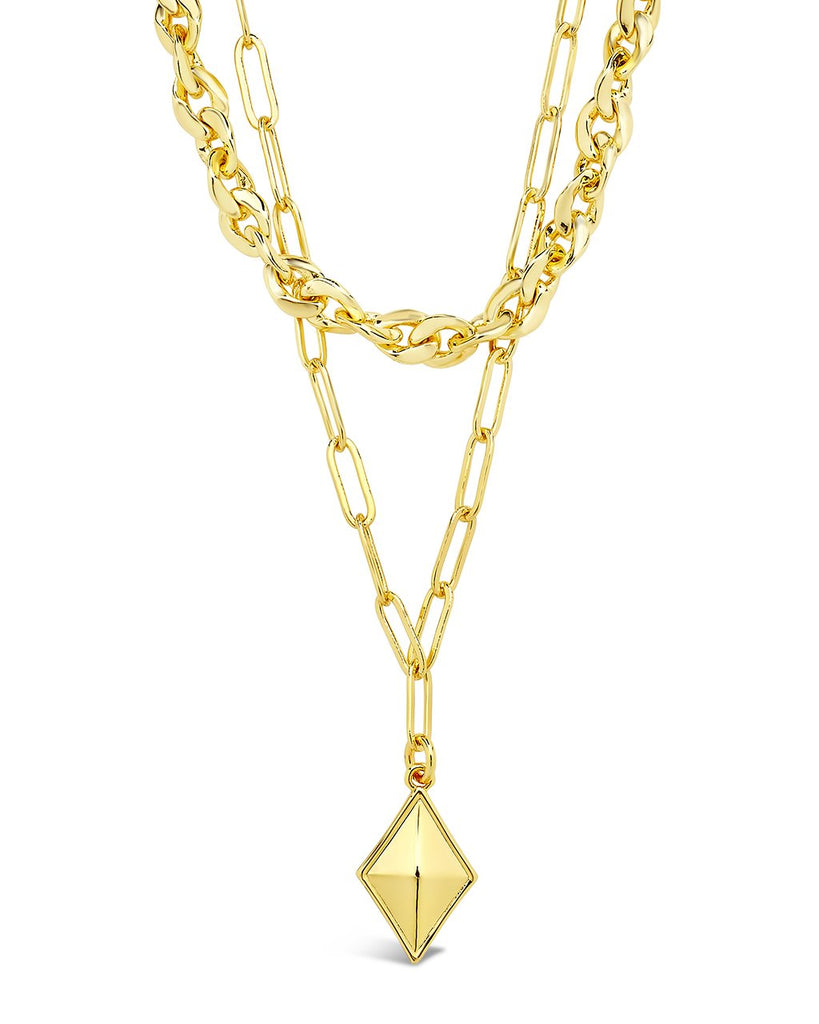 2 Layer Chain & Charm Necklace Necklace Sterling Forever Gold