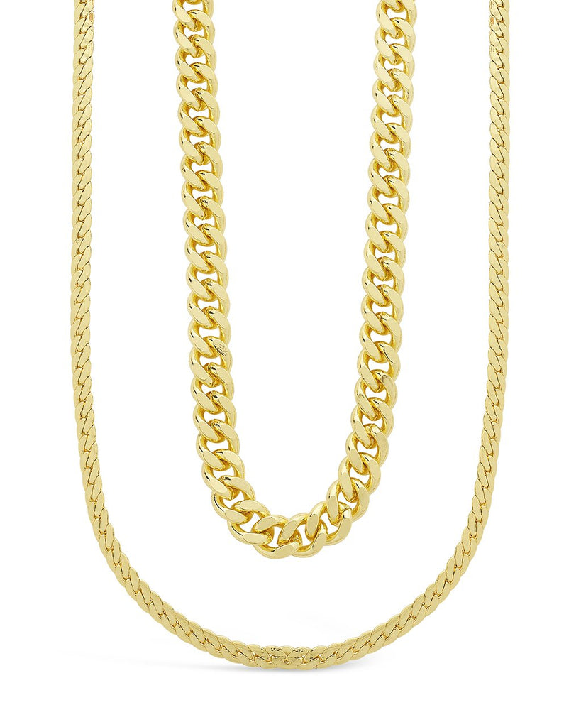 Curb & Herringbone Chain Layered Necklace Necklace Sterling Forever