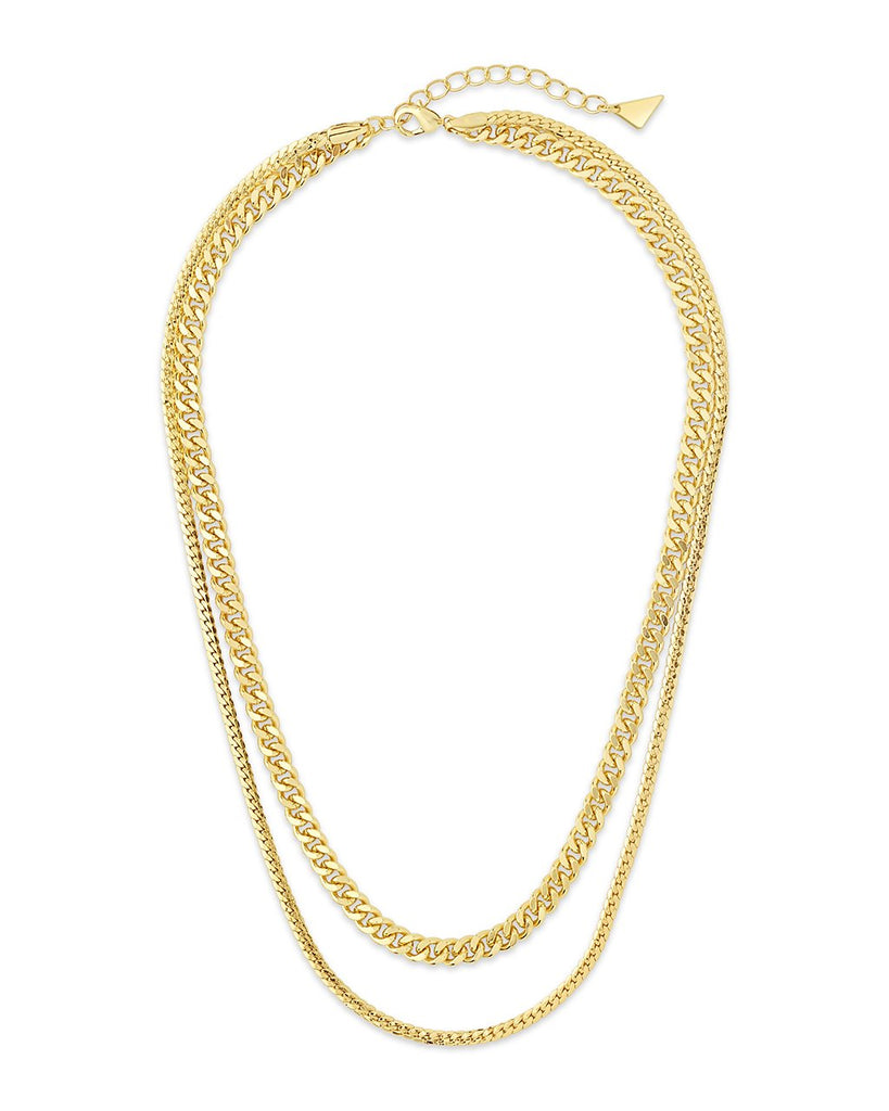 Curb & Herringbone Chain Layered Necklace Necklace Sterling Forever Gold