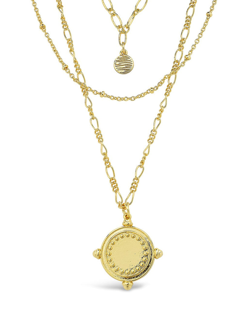 Three Layer Medallion Necklace Necklace Sterling Forever Gold