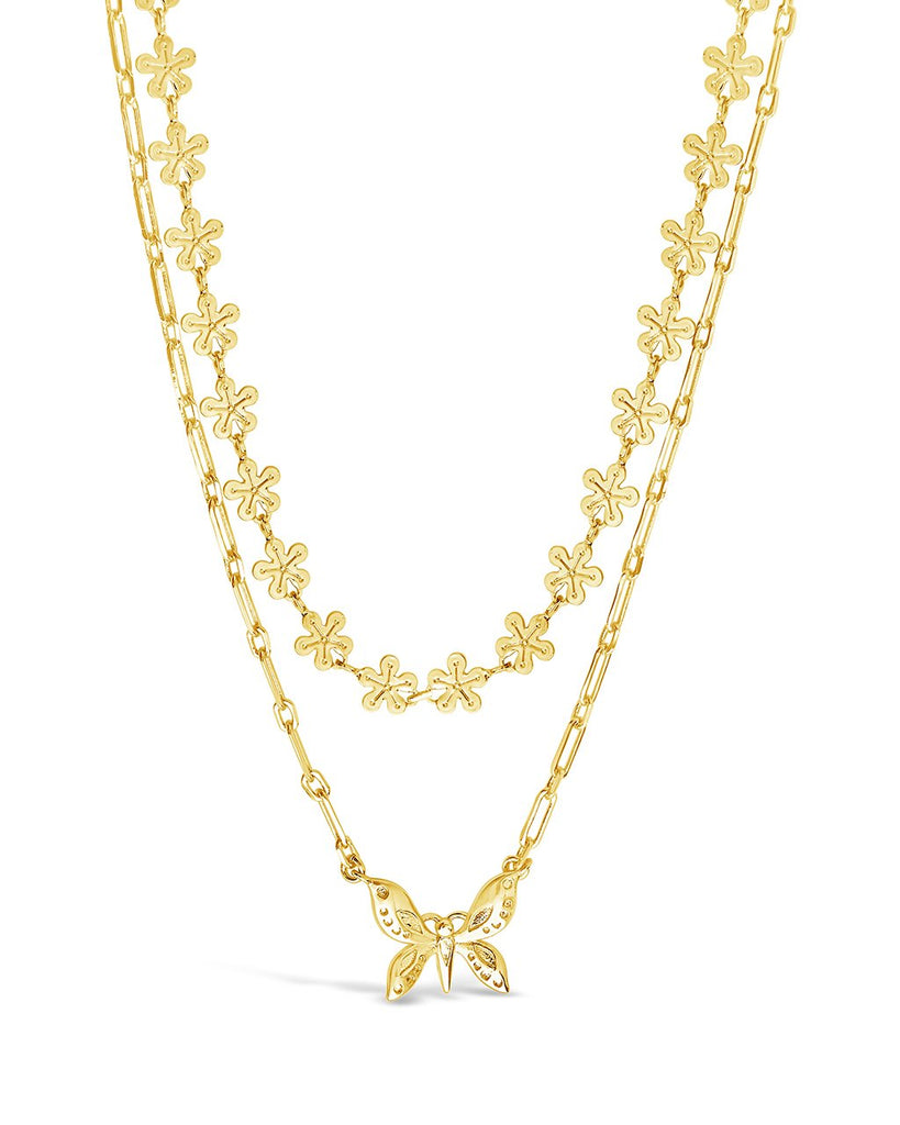 Butterfly & Daisy Chain Layered Necklace Necklace Sterling Forever Gold